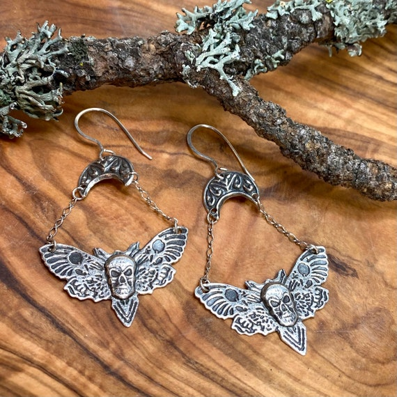 Dramatic Deaths Head Moth with Skull earrings in silver