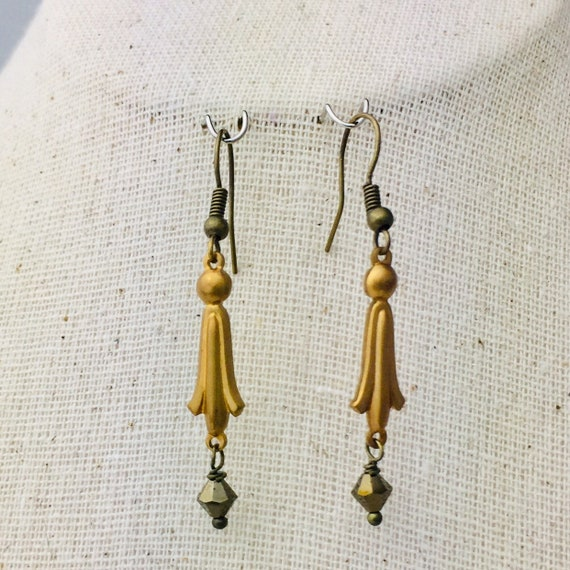 Egyptian lotus earrings with glass beads - special holiday price!  gifts under 15
