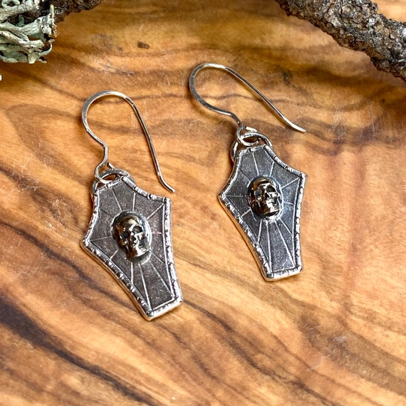 Silver Coffin Earrings with Skull
