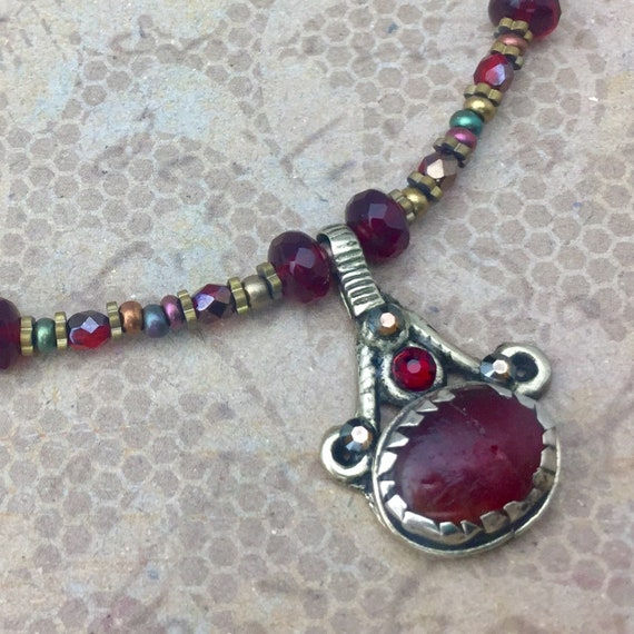 Vintage Kuchi Necklace with original glass centerpiece with Swarovski crystals