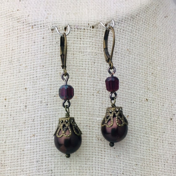 Pretty bronze and brown glass pearl earrings - special holiday price!  gifts under 15