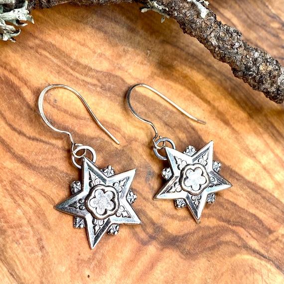 Victorian Star drop earrings in silver