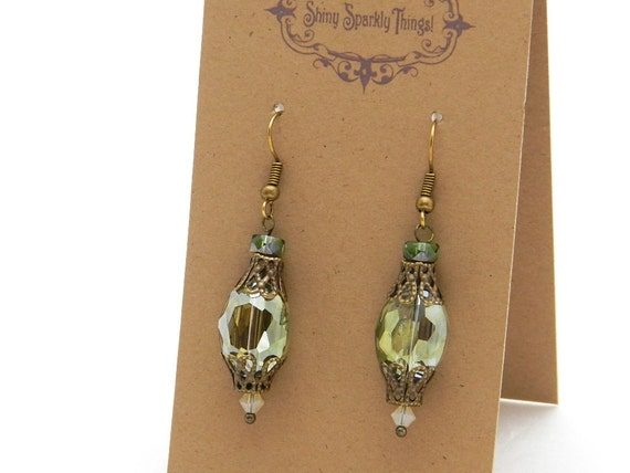 Iridescent olive green glass bead earrings with filigree - special holiday price!  gifts under 10 SST3110