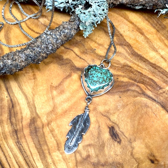 Turquoise Heart with Teensy Feather Pendant