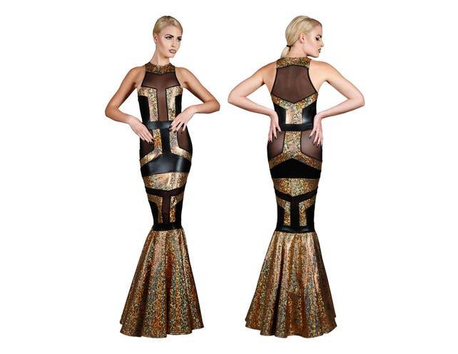 Art Deco Fishtail Evening Gown Gold & Black Futuristic | Etsy