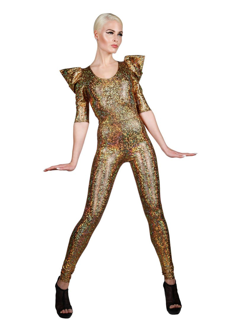 6a7a466857 Signature Catsuit Gold Holographic Jumpsuit Halloween