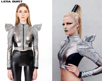 Futuristic Bolero Jacket; Silver & Black, Futuristic Clothing, Cyberpunk Jacket, Burning Man Costume, LENA QUIST
