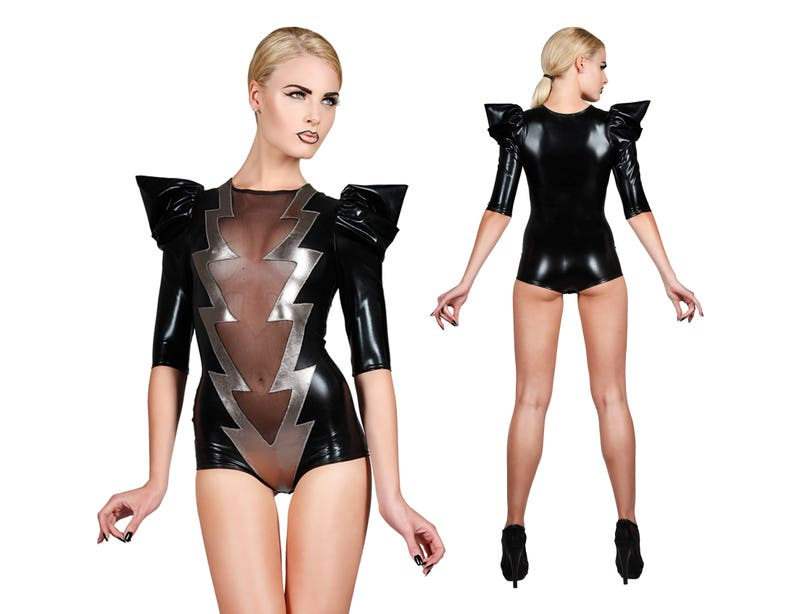 af8859ffa7 Lightning Bolt Bodysuit David Bowie Burning Man Clothing   Etsy