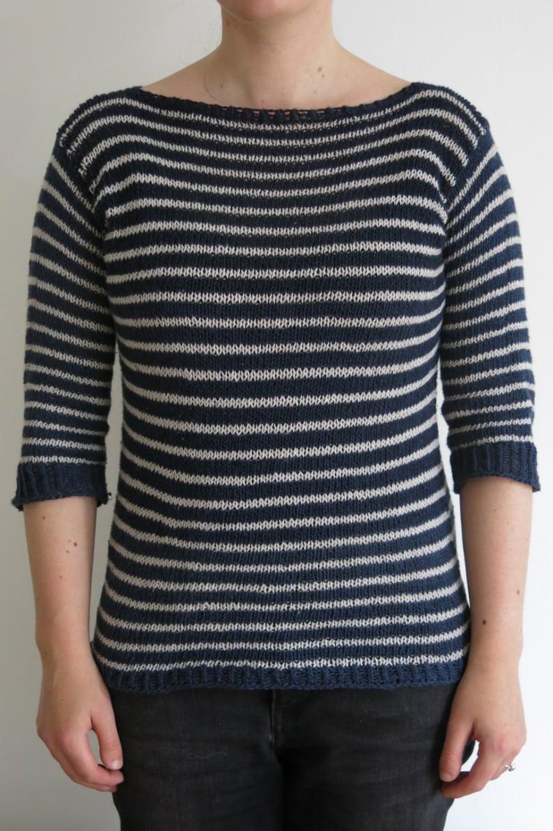 PATTERN Striped Sweater Knitting Pattern Pdf / Pullover image 0