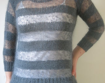 PATTERN Striped Mohair Sweater Knitting Pattern Pdf / Stripy Sweater Knitting Pattern / Striped Sweater Knitting Pattern