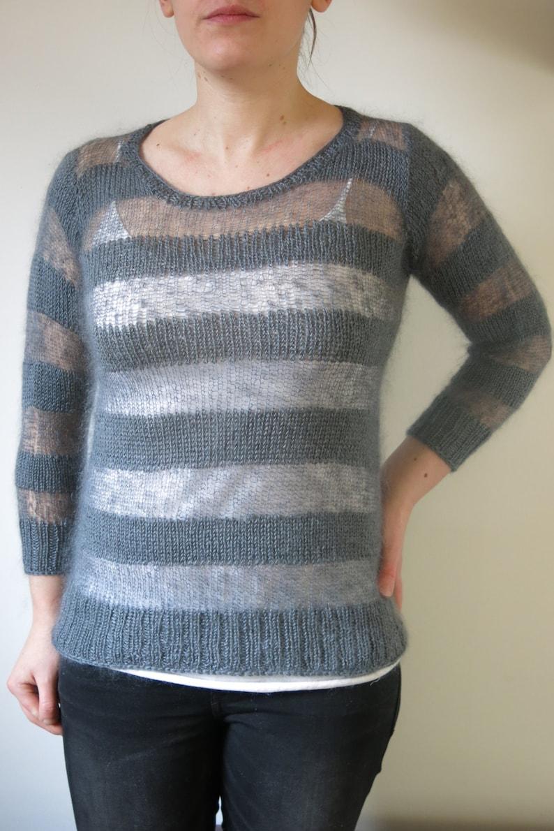 d1a50f369331 PATTERN Striped Mohair Sweater Knitting Pattern Pdf   Stripy