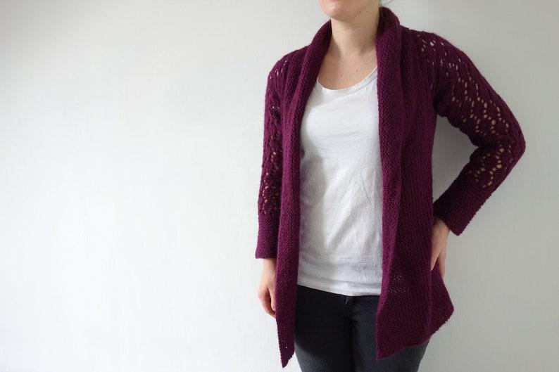 PATTERN lace cardigan knitting pattern / lacy cardigan image 1