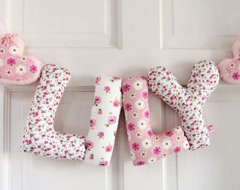 LILY - Personalized Baby name wall decor, baby girl nursery decor. New baby girl Christening gift, girl baby shower decor. liberty fabric.