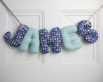 JAMES - Personalized Baby name wall decor, nautical modern nursery decor. Boy Christening gift, blue baby shower. baby first birthday. Blue.