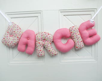 DARCIE - Personalized Baby name wall hanging, name banner. Pink baby shower, girl christening gift. 1st birthday gift. Modern nursery decor.
