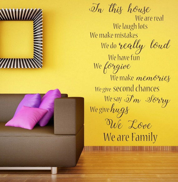 Large wall sticker quote Portrait In This House Smile Love Family cut matt vinyl