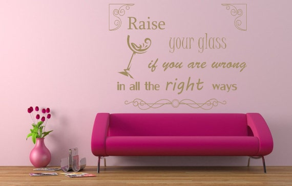 pink song lyrics quote 'raise your glass' vinyl wall | etsy