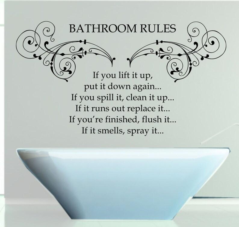 bathroom rules quote matt vinyl wall art sticker decal mural.   etsy