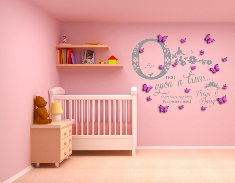 Sisters Once Upon a Time two Princesses 100cm W x 81.9cm H Twins Wall Art Decal Sticker /& 3D Personalised Butterflies Personalised Name