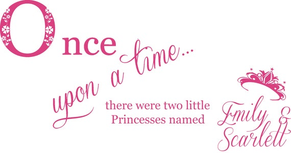 Wall Art Decal Sticker /& 3D Personalised Butterflies 100cm W x 81.9cm H Twins Once Upon a Time two Princesses Sisters Personalised Name
