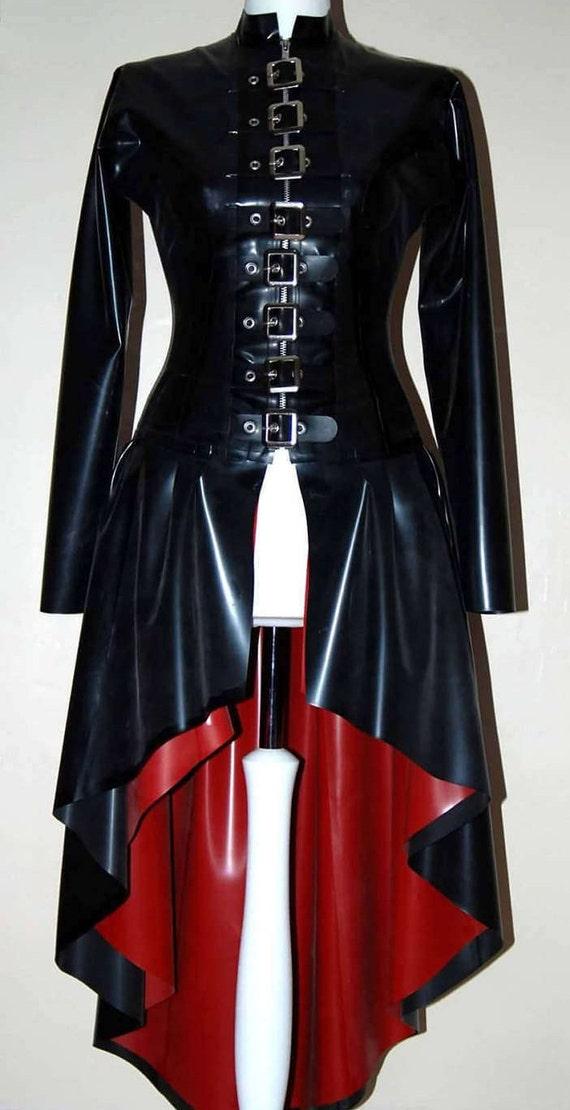 Latex-Mantel langen schwarzen Latex Schnalle Bondage Mantel