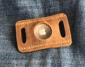 Lay Flat Backpack, Purse Strap, Belt, Collar Hugger, fits Apple AirTag Holder - Leather - Pets Child - Fits 1 Inch Strap Choose Stitch Color
