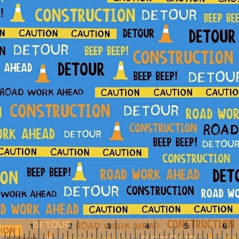 The Big Dig Fabric Construction Fabric Words Windham image 0