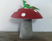 Red Concrete Mushroom with Lizard on top Hand made Painted
