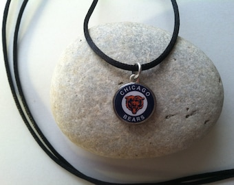 Lucky Penny Pendant Chicago Bears Charm on chain OR Satin Cord Necklace Football