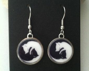 MEOW Kitty Cat Dime Earrings Stainless Steel Ear Wires Handmade