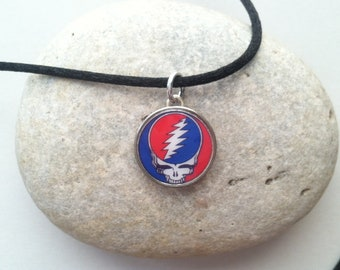 35b1ddc457 2-sided Grateful Dead Steal Your Face Dime Pendant Charm on Chain or Satin  Cord Necklace