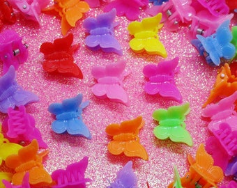 10pc Set, 90's Butterfly Clips, 90's Hair Clips, 90's Accessories, Butterfly Clips, 90's Party, Colorful Accessories, Kawaii, 90's Barrettes
