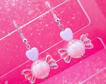 Pastel Kawaii Dangle Earrings, Pastel Dangle Earrings, Pastel Earrings, Girls Drop Earrings, Fairy Kei, Heart Earrings, Candy Earrings, Pink