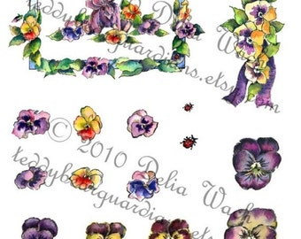 Purple Bear and Pansie Frame - Quick Cuts - Digital Collage Sheets - Elements of Collage