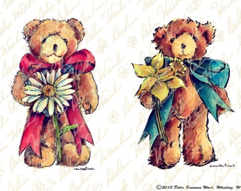 Flower for You Teddy Bears - Digital Collage Sheet - Clip Art - Instant Download - Printable Files - JPG & PDF - Crafting