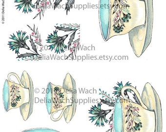 Mid Century Tea Cup - Digital Collage Sheet - Perfect for Crafts - Printable PDF