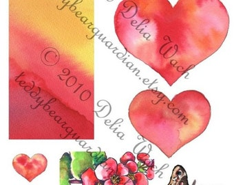 More Hearts - Digital Elements of Collage Sheet - Printable PDF