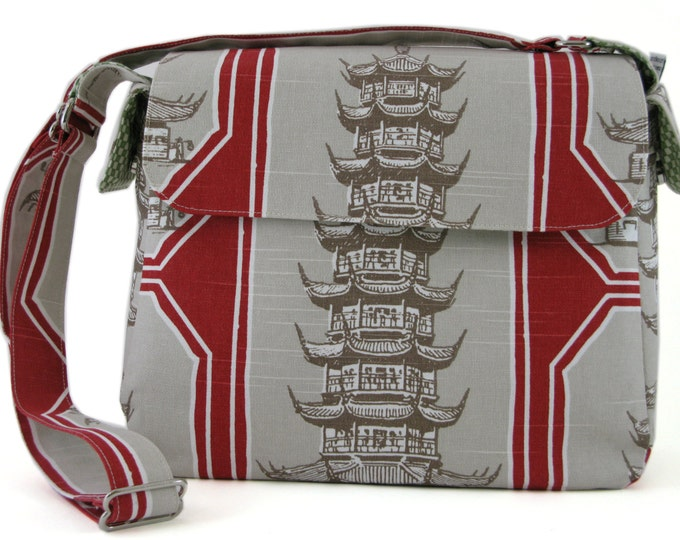 Large Everyday Purse Shoulder Bag in Red, Off-white and Taupe Chinese Temple Print