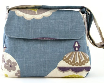 Medium Everyday Purse in Periwinkle Blue Multicolour Edwardian Print