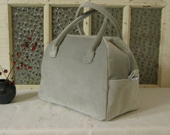 Bowling Bag Handbag Zippered Purse Grey Velvet