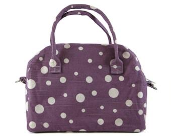 Bowling Handbag Zippered Purse Purple and White Dots