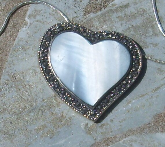 Marcasite and Mother of Pearl Heart Pendant