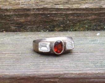 Handmade Garnet and White Topaz Sterling Silver Ring