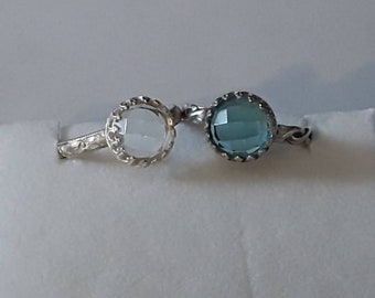 Blue Topaz and Clear Quartz Rings  Chose one or Both