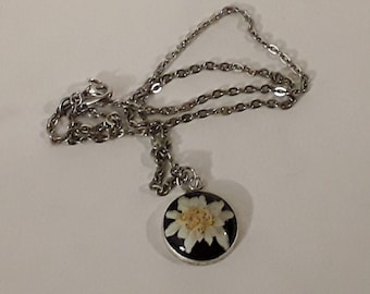 Beautiful Spring Flower Under Glass Pendant on Chain
