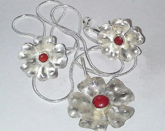 Sterling Silver Flower Earrings with Red Coral Center