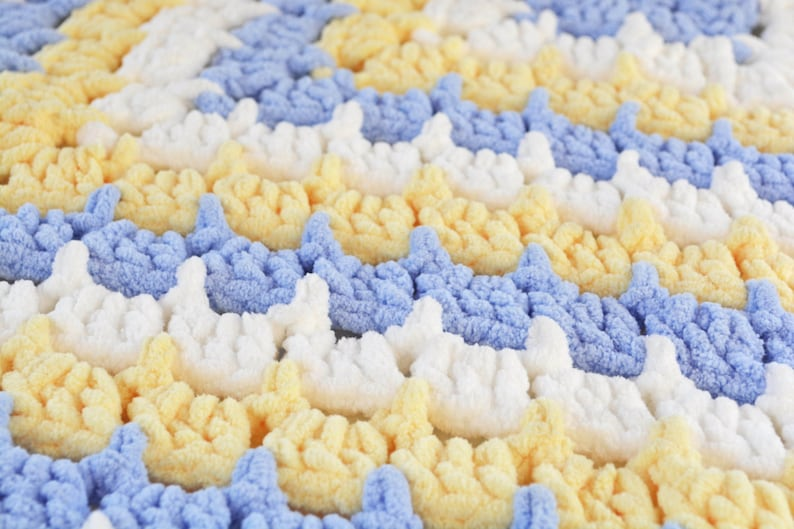 Ready to ship! yellow Crochet baby blanket Handmade super soft blue and white afghan