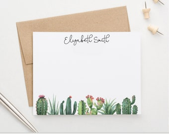 Hand Painted Personalized Cactus Wreath Stationery