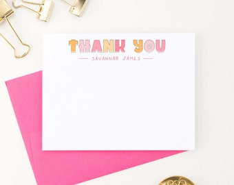 Simple Girls Thank You Cards Personalized Kids Thank You Notes Girl Thank You Stationery Set Modern Stationary Cards Block Font Kid KS178