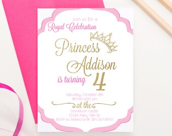 Princess birthday party package princess themed party royal etsy princess birthday invitation royal princess birthday party invitations princess themed birthday girls birthday party invitations bi015 filmwisefo